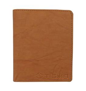 TIGMA Men Tan Leather Money Clip Wallet ( Pack of 1 )