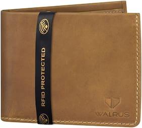 WALRUS Men Beige Leather Bi-Fold Wallet ( Pack of 1 )
