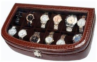 Sukeshcraft Unisex Leatherite Watch cases - Brown