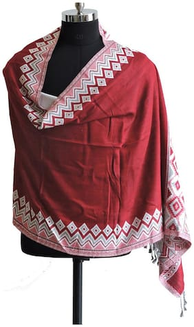 Weavers Villa Women Viscose Stoles & Scarves - Red