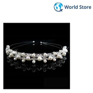 Magideal Wedding Party Bridal Bridesmaid Flower Girl Crystal Double Pearl Crown Headband Tiara