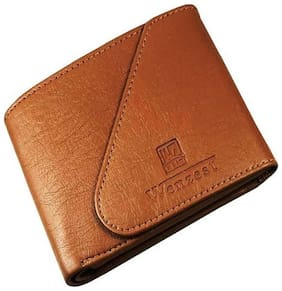WENZEST Formal Wallets for Men in Tan Color with 3 Cards Pockets, Triangular Enclosure (WL-Tankaan)