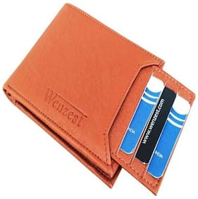 WENZEST Men Tan Artificial Leather Wallet, 7 Card Slots with detachable card holder (W-Tanbachcha01)