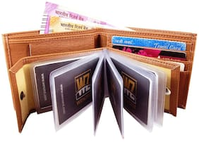 WENZEST Men/Boys Tan Artificial Leather Wallet, upto10 Card Slots (TanAlbumNochain-01)
