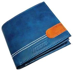 Men Leather Bi-Fold Wallet ( Blue )