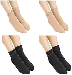 Westoros Soft & Cozy Solid Winter Thick Warm Fleece Lined Thermal Stretchy Elastic Velvet Socks For Women (Beige & Black,Pack Of 4)