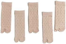 Westoros Ultra-Thin Beige Nylon Summer Skin Socks For Women -Pack Of 5