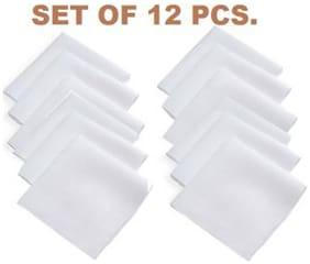 White Cotton Handkerchief Pack of 12 pcs