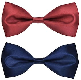Wholesome deal men's grey and maroon neck bow tie (Pack of 2)