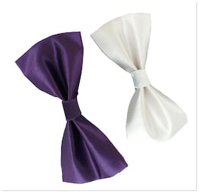 wholesome deal purple and white neck bow tie (pack of two)
