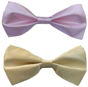 Wholesome deal men's pink and cream neck bow tie (Pack of 2)
