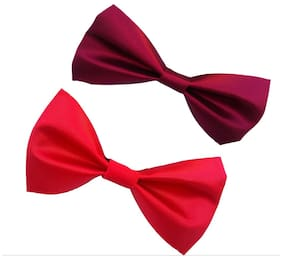 wholesome deal red and maroon neck bow tie (pack of two)
