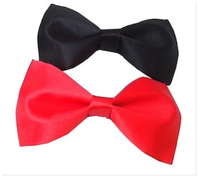 wholesome deal red and black neck bow tie (pack of two)
