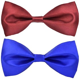 Wholesome deal men's maroon and r.blue neck bow tie (Pack of 2)