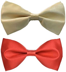Wholesome deal men's cream and red neck bow tie (Pack of 2)