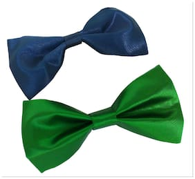 wholesome deal navy blue and green neck bow tie (pack of two)