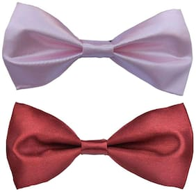 Wholesome deal men's pink and maroon neck bow tie (Pack of 2)