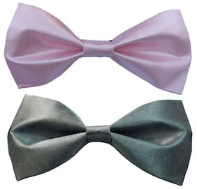 Wholesome deal men's pink and grey neck bow tie (Pack of 2)