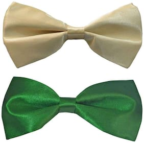 Wholesome deal men's cream and green neck bow tie (Pack of 2)