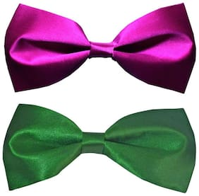 Wholesome deal men's purple and green neck bow tie (Pack of 2)
