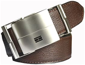 Wholesome Deal men's brown non leather auto lock buckle belt(28)