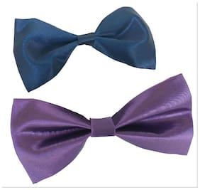wholesome deal navy blue andl light purple neck bow tie (pack of two)