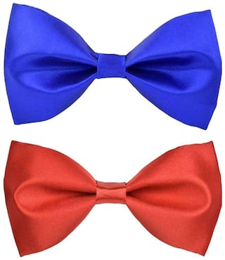 Wholesome deal men's r.blue and red neck bow tie (Pack of 2)