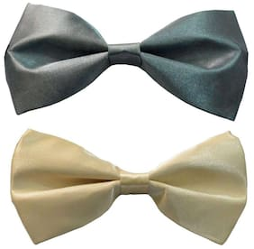 Wholesome deal men's grey and cream neck bow tie (Pack of 2)