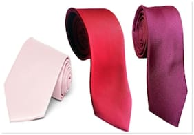 Wholesome Deal Pink Red And Maroon  Microfiber Men'S Tie Pack Of Three
