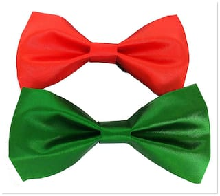wholesome deal green blue and red neck bow tie (pack of two)