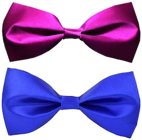 Wholesome deal men's purple and r.blue neck bow tie (Pack of 2)