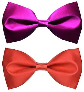 Wholesome deal men's purple and red neck bow tie (Pack of 2)
