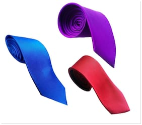 Wholesome Deal Red Purple And Royal Blue Microfiber Men'S Tie Pack Of Three
