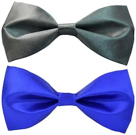 Wholesome deal men's grey and r.blue neck bow tie (Pack of 2)