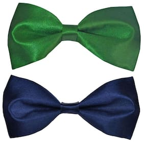 Wholesome deal men's green and n.blue neck bow tie (Pack of 2)