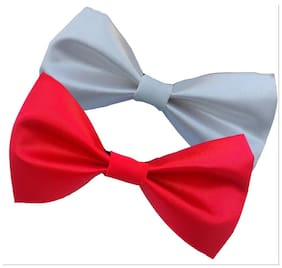 wholesome deal white  and red neck bow tie (pack of two