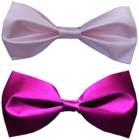Wholesome deal men's pink and purple neck bow tie (Pack of 2)