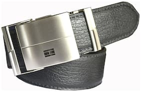 Wholesome Deal men's black non leather auto lock buckle belt(30)