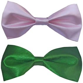 Wholesome deal men's pink and green neck bow tie (Pack of 2)