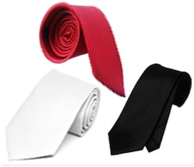 Wholesome Deal Red Black And White Microfiber Men'S Tie Pack Of Three