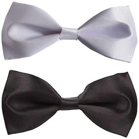 Wholesome deal men's white and black neck bow tie (Pack of 2)