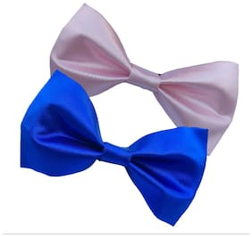wholesome deal royal blue and pink neck bow tie (pack of two)