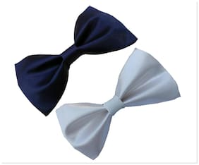 wholesome deal navy blue and white neck bow tie (pack of two)