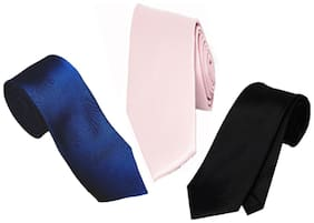 Wholesome Deal Pink Navyblue And Black Microfibre Men'S Tie Pack Of Three
