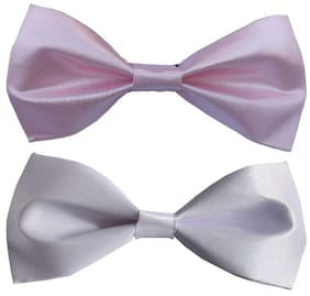 Wholesome deal men's pink and white neck bow tie (Pack of 2)
