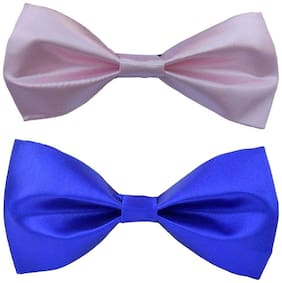 Wholesome deal men's pink and r.blue neck bow tie (Pack of 2)