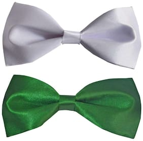 Wholesome deal men's white and green neck bow tie (Pack of 2)