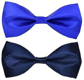 Wholesome deal men's r.blue and navy blue neck bow tie (Pack of 2)