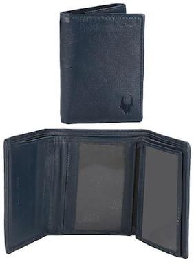 WildHorn 100 % Genuine Leather Blue Tri fold Mens Wallet