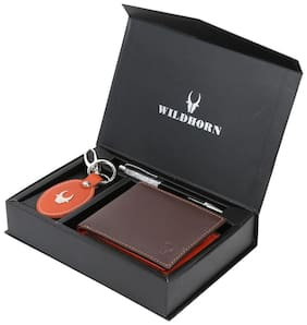 WildHorn Men s Brown Genine Leather wallet Combo